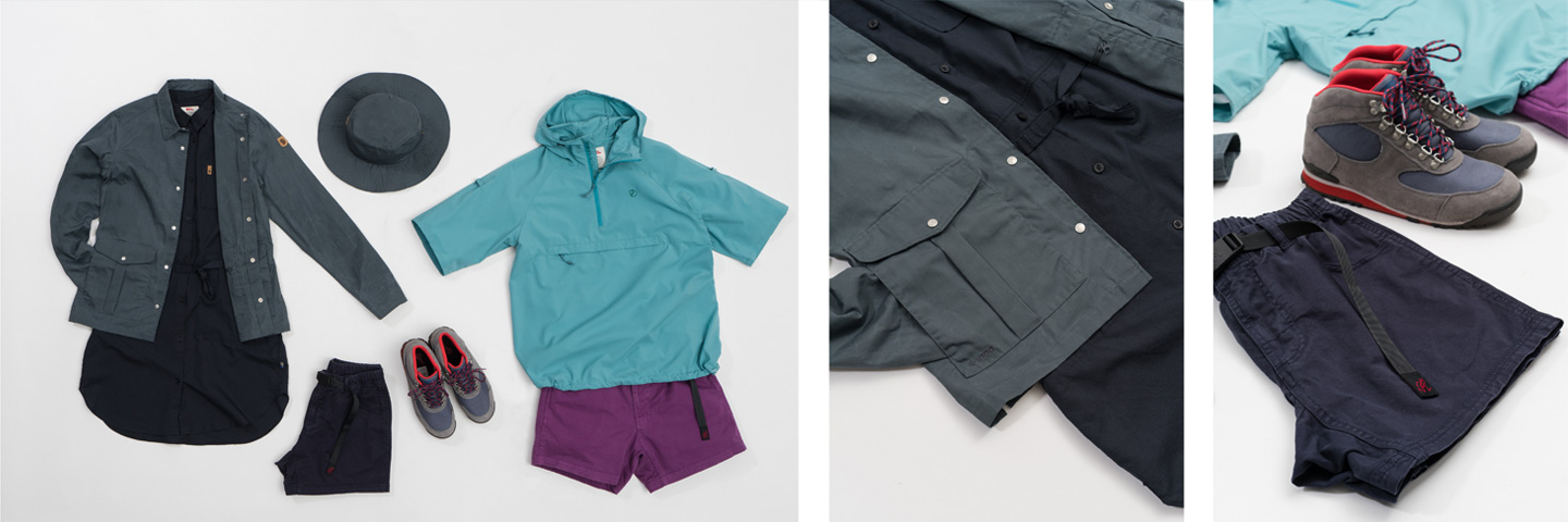 Outsiders Women's clothing selection with Fjallraven Gramicci and Danner