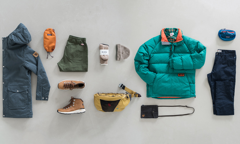 Mens clothing selection with Arcteryx, Fjallraven, Rab, Battenwear, Patagonia and Danner