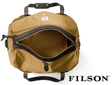 Filson brown bag on a white background