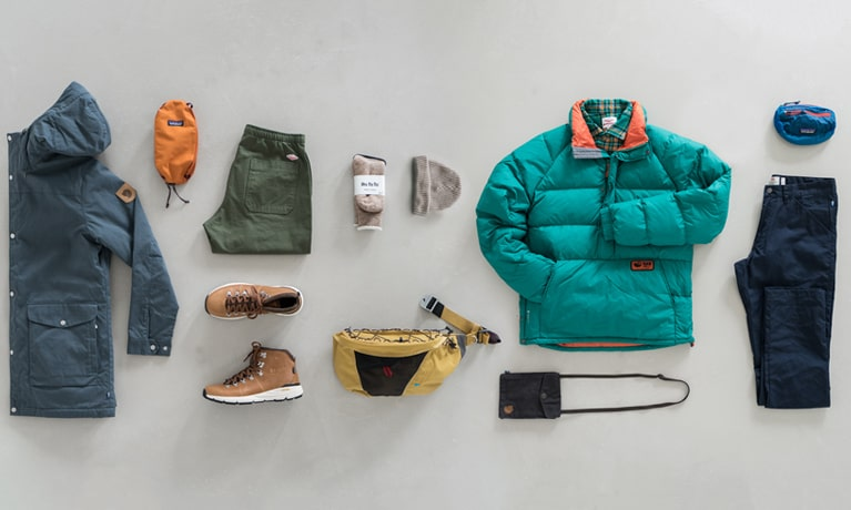 Clothing selection: Fjallraven, Arcteryx, Rab, Battenwear, Danner, Patagonia