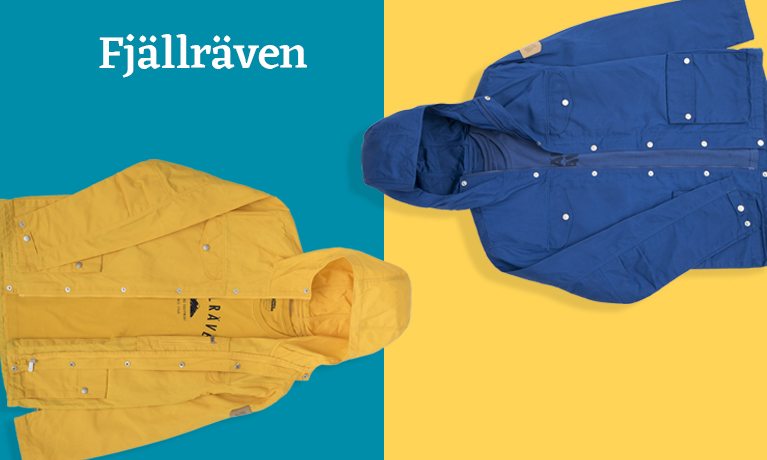 Fjallraven Men's Greenland Jacket in blue and yellow